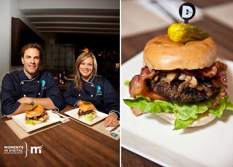 Photographs of Delux Burger Celebrity Chefs Jason Strudwick and Leila Zuniga