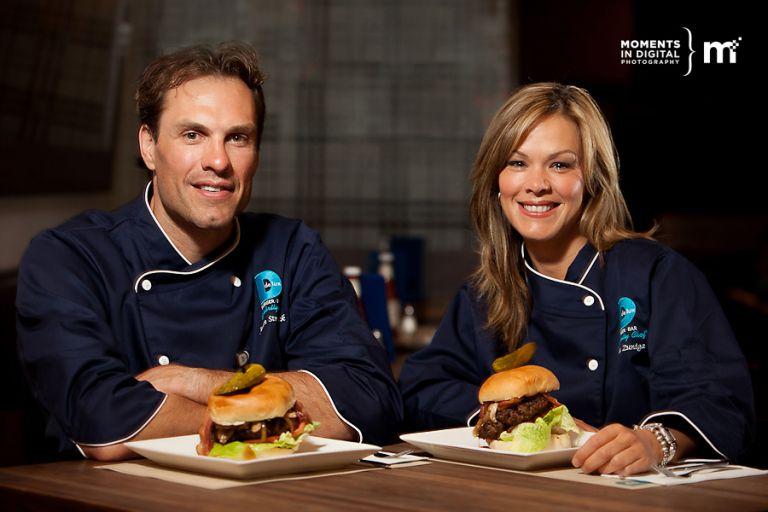 Delux Burger Celebrity Chefs Jason Strudwick and Leila Zuniga