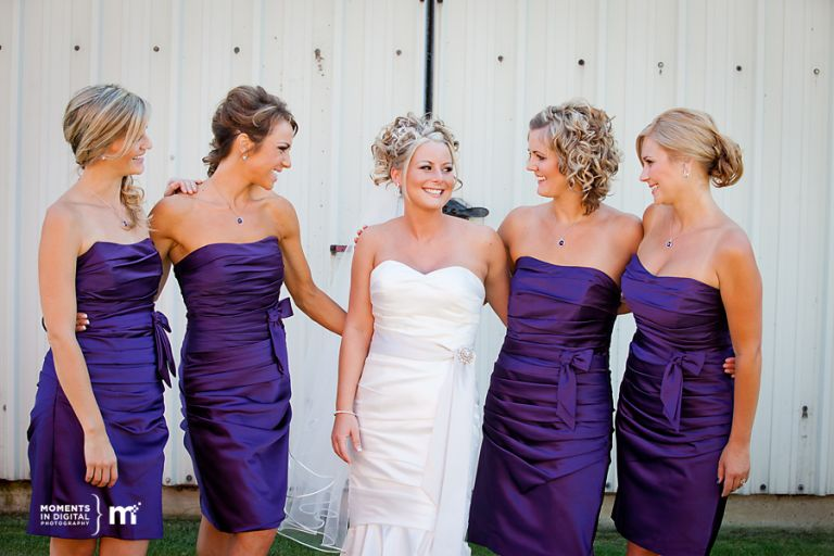 Bride with her bridesmaids - Edmonton Wedding Photography