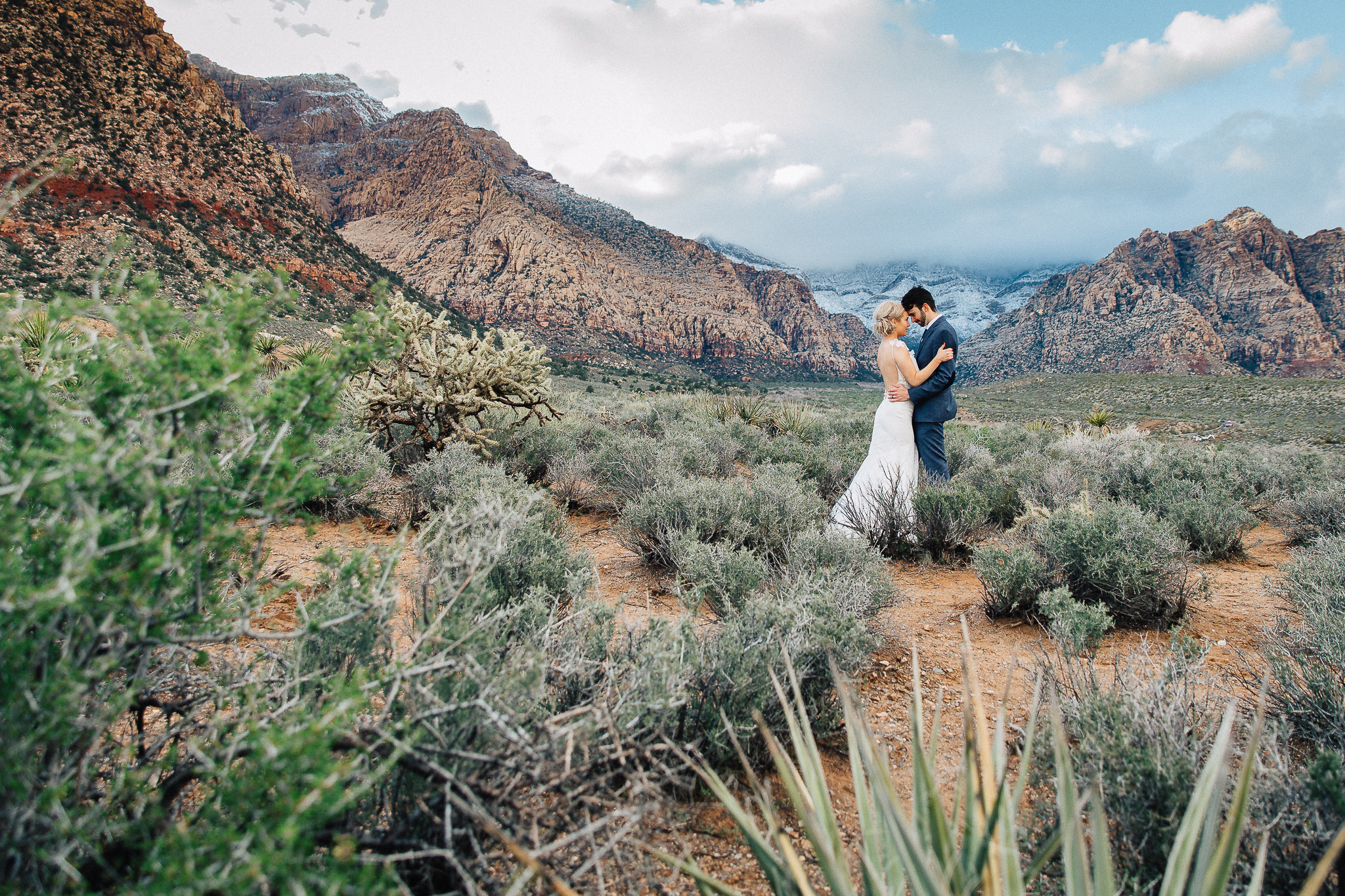 Wedding Photographers in Edmonton - Bride & Groom in Red Rock Canyon