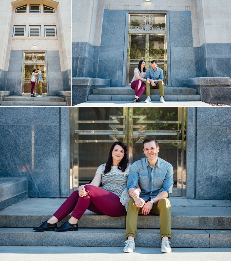 Engagement photos at the Alberta Legislature Grounds in Edmonton