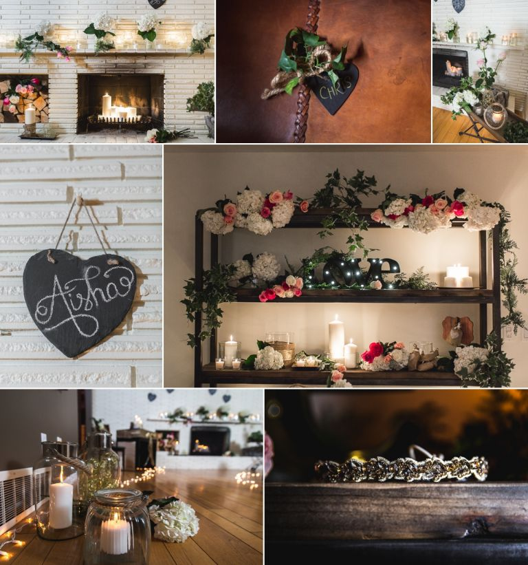 Aisha & Dave - Intimate candlelit wedding at their home in Edmonton 1