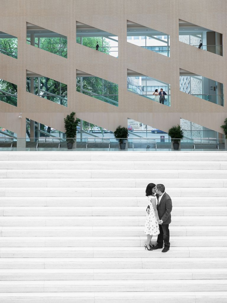 Engagement photos at Edmonton's City Hall