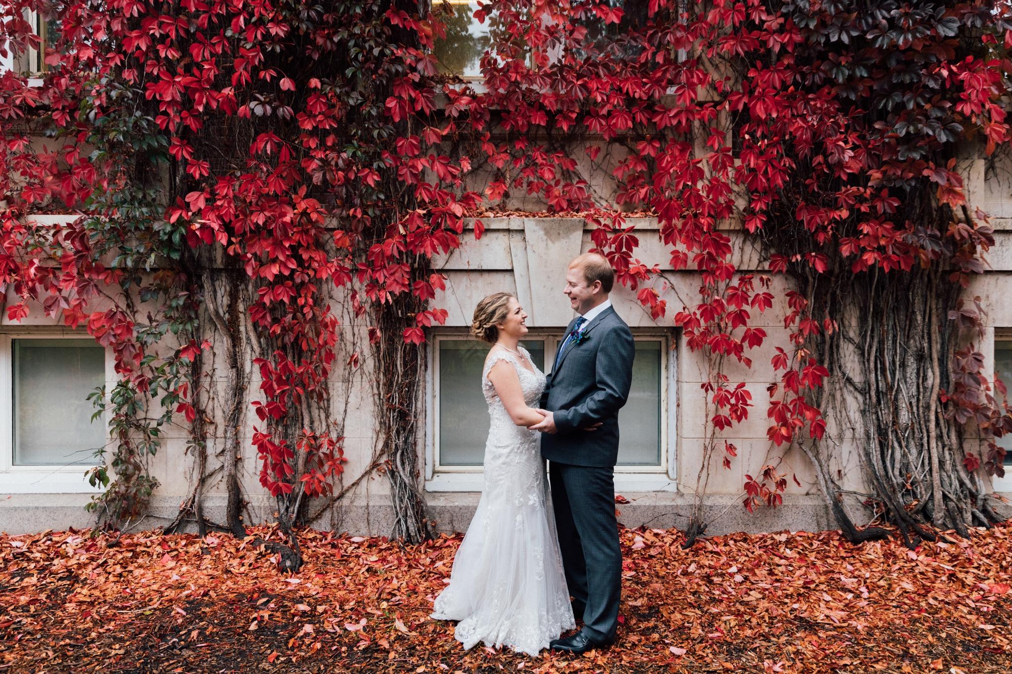 Fall wedding photos at the University of Alberta in Edmonton