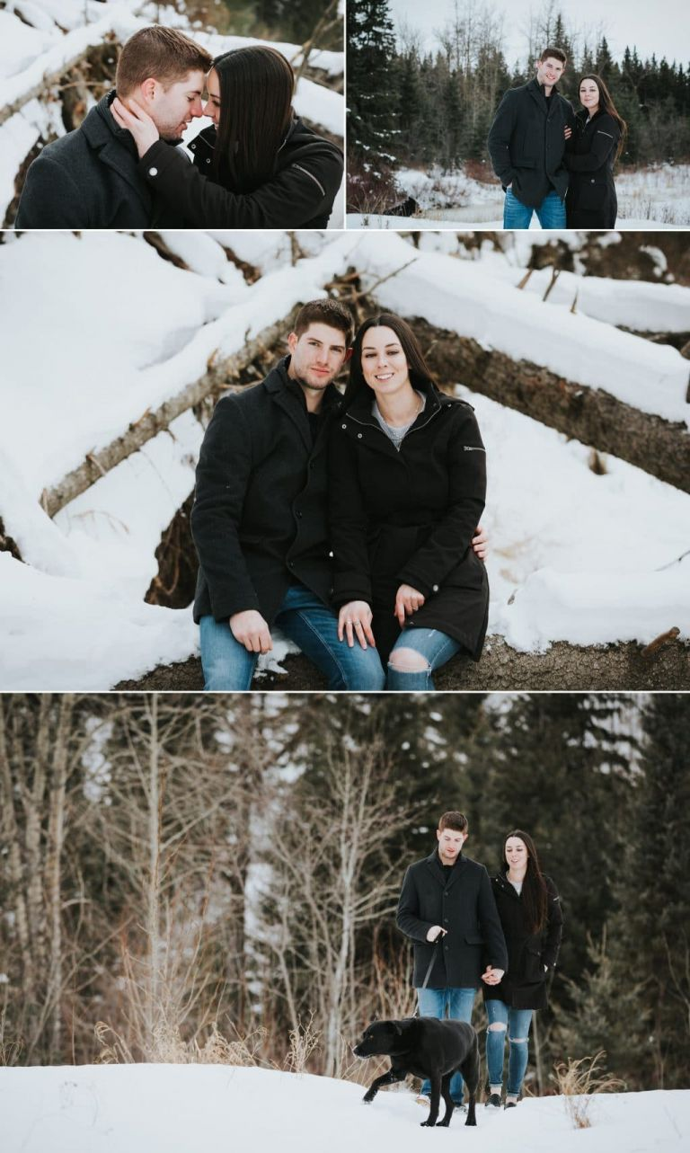 Engagement Photo Session in Edmonton - couple with their dog in Whitemud Park