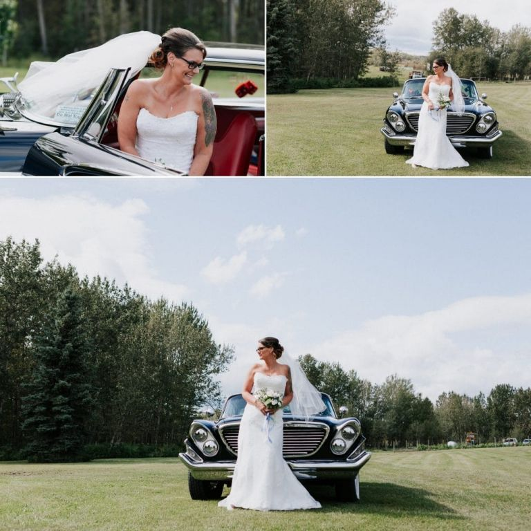 Wedding Photos with a classic car in Lac La Biche Alberta