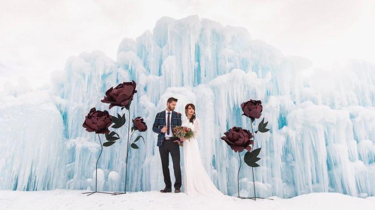 Wedding Photos at the Ice Castles in Edmonton Alberta
