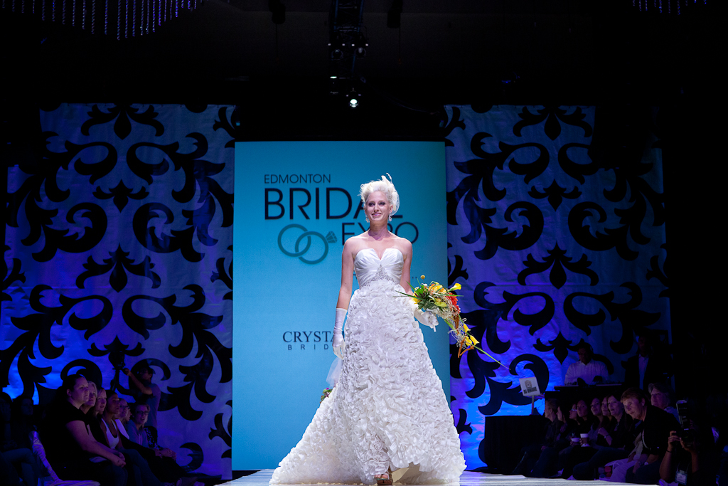 A bride walks the runway at Bridal Expo